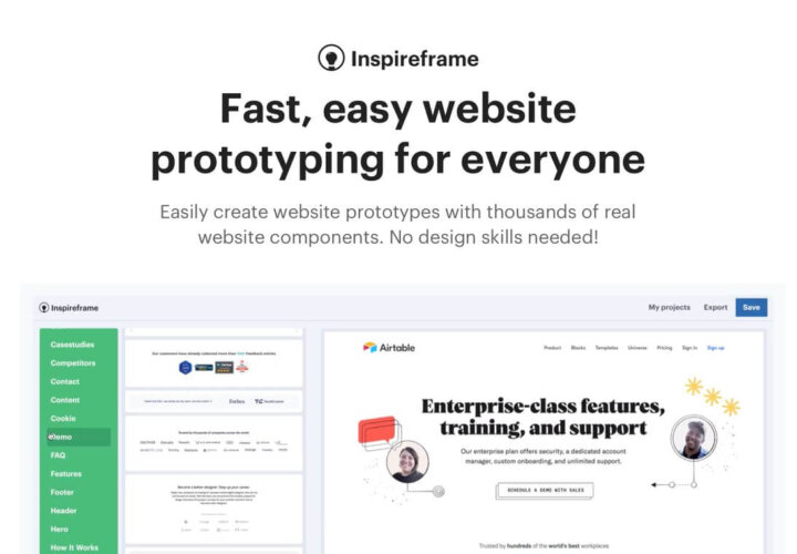 Inspireframe App: Create Fast and Easy Website Prototypes