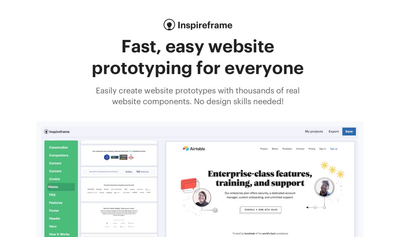 Inspireframe App: Create Fast and Easy Prototypes