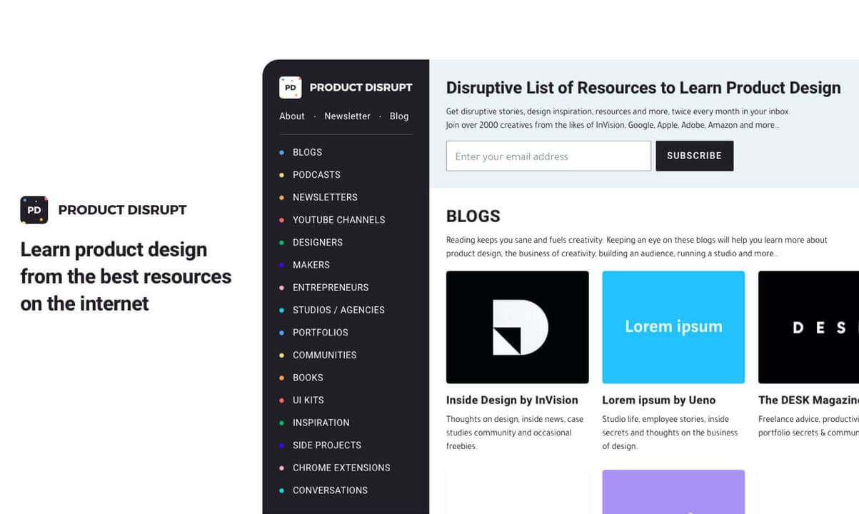 Product Disrupt 2.0 App: A Collection of the Best Product Design Resources
