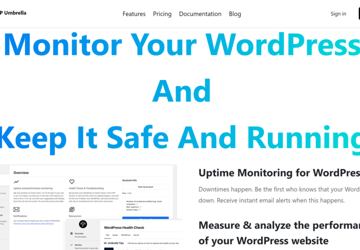 WP Umbrella: Monitor your uptime, performance, and PHP errors in one place