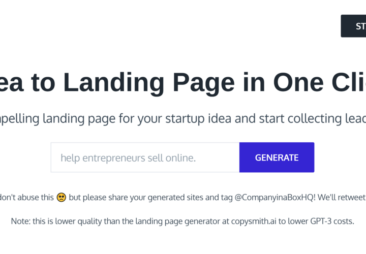 Company in  Box: Create a Landing Page For Your Startup Idea